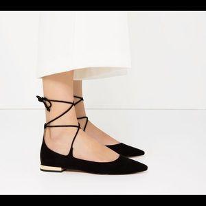Black Zara lace up Pointy Flats size 38 NWOT
